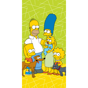 "Jerry Fabrics Bavlněná froté osuška The Simpsons family ""Green 02"" 70x140 cm"