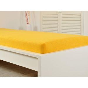 B.E.S. Petrovice Sytě žluté prostěradlo Jersey elastické 200x220 s gumou
